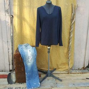 Rock & Republic Dark Blue Long Sleeve Top